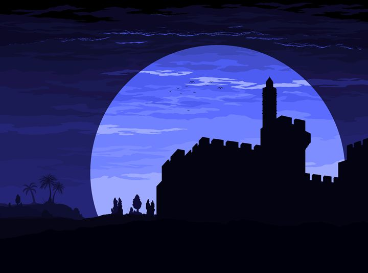 Migdal David in blue moon view - Ely Greenhut