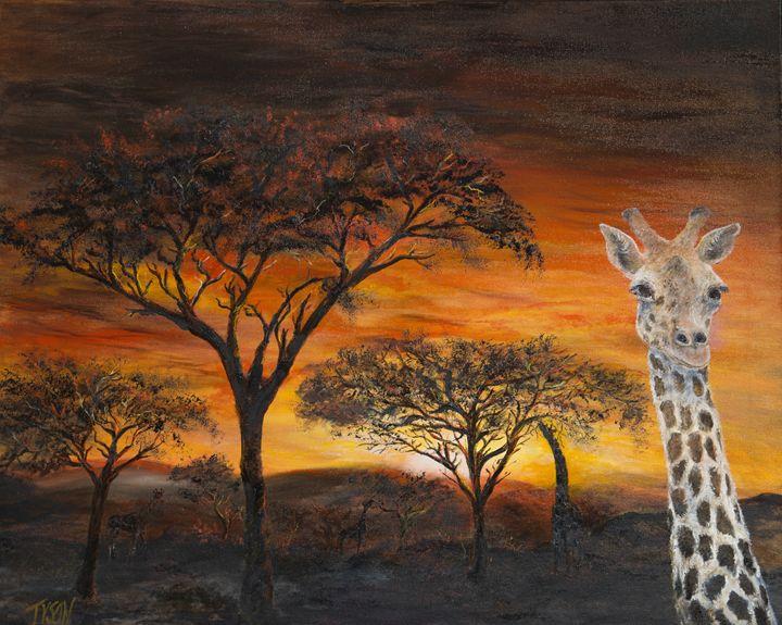 Giraffes at sunset - Tyson environmental art