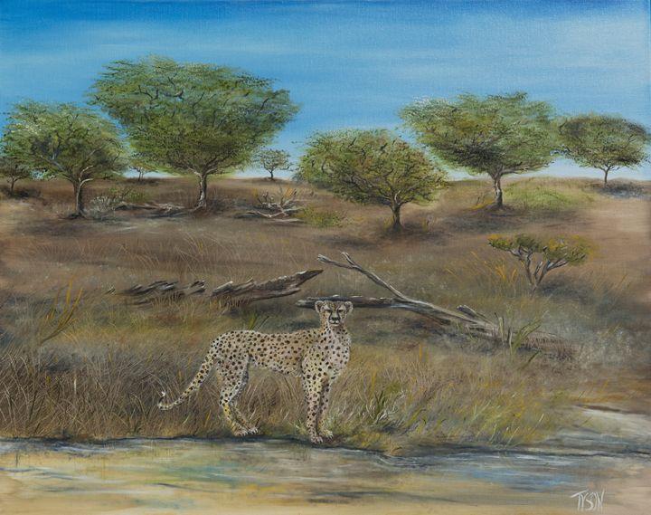 Cheetah stops to take a drink - Tyson environmental art