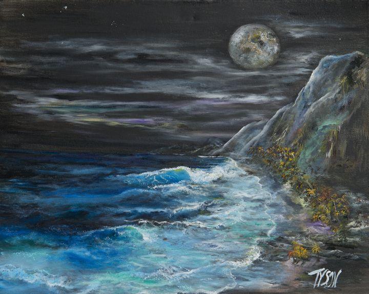 Giant moon over tropical beach - Tyson environmental art