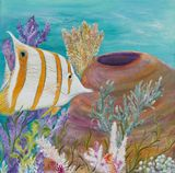 24 x 24 butterfly fish painting