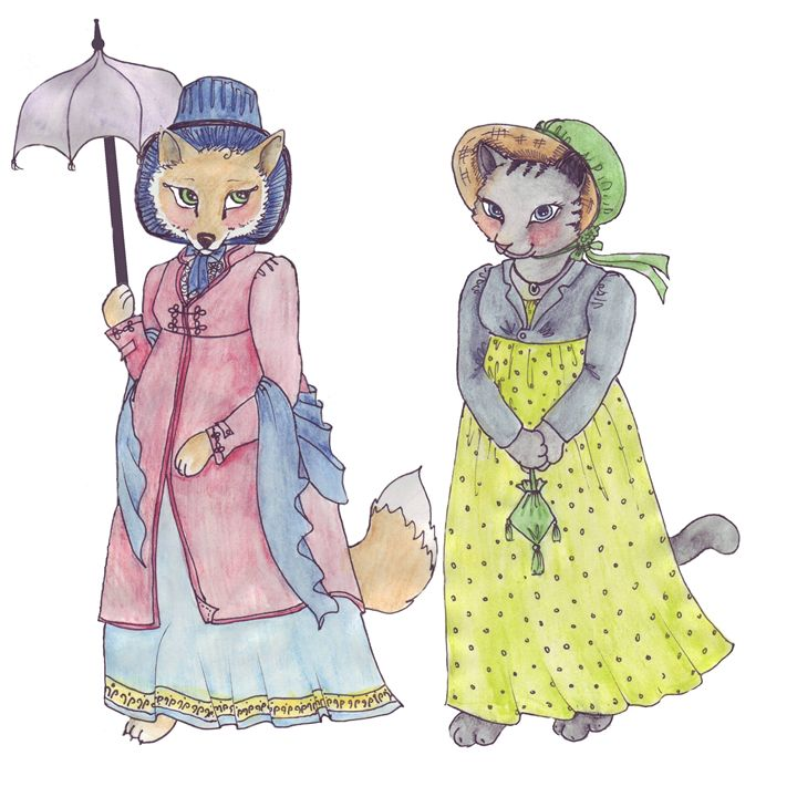Miss Kitty and Miss Fox Stroll - Feffie's Cottage