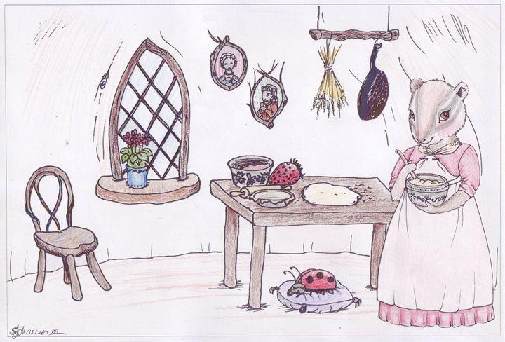Mrs. Chipmunk loves to bake - Feffie's Cottage