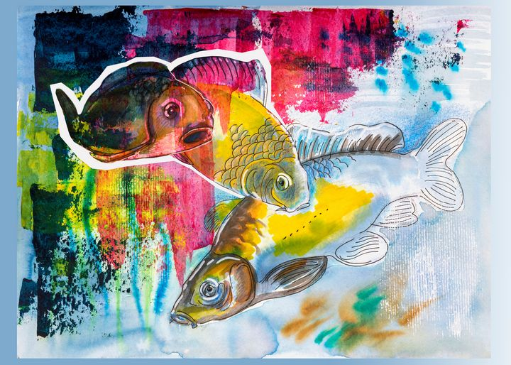 Fishes in water, original painting - Ariadna-art