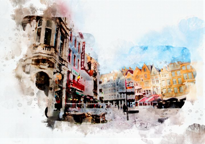 town life in watercolor style - Ariadna-art