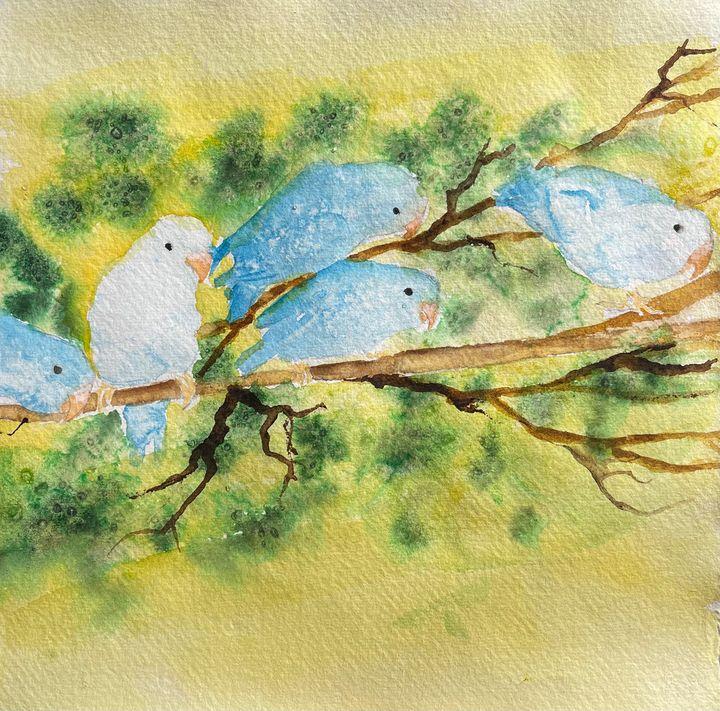 Five Parrotlets - Simpson Art
