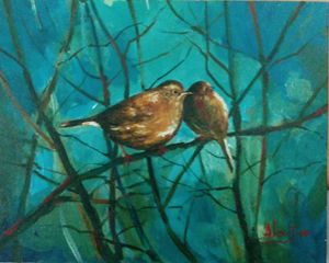 Love Birds-Acrylic