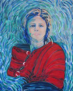 Femme à l'étole rouge