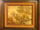 Country scene in oil signed