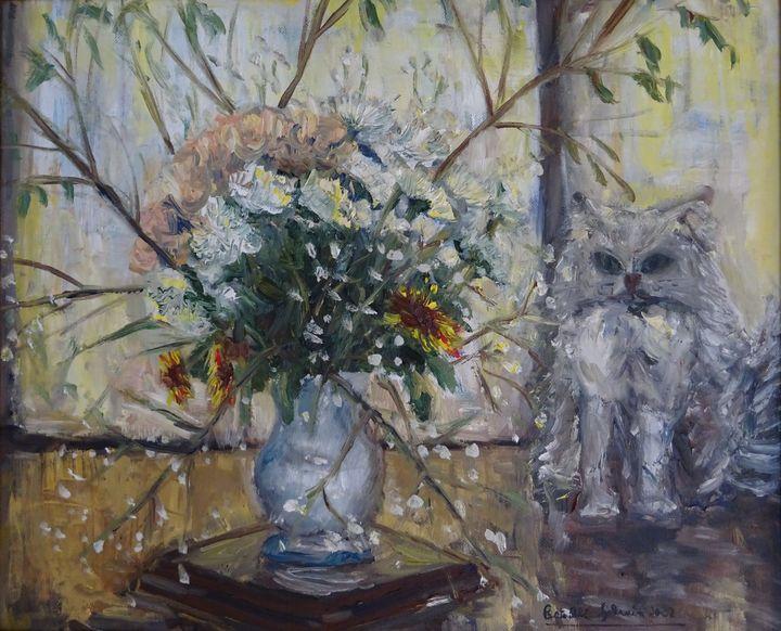 The Cat and Flowers - Sylvain Bataillé