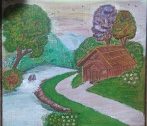 Landscape on wooden cardboard