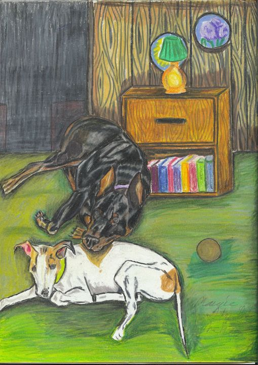Doberman and Greyhound - Margie Shields McKee