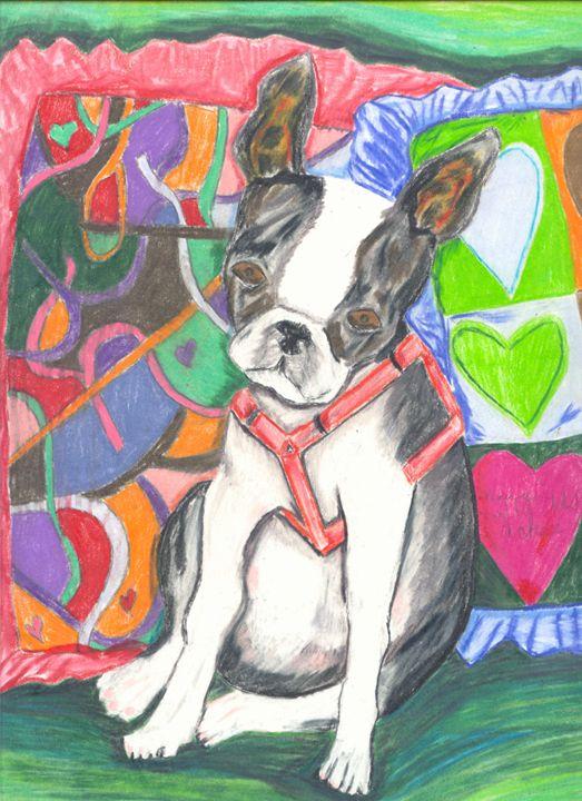 Boston Terrier By Pillows - Margie Shields McKee