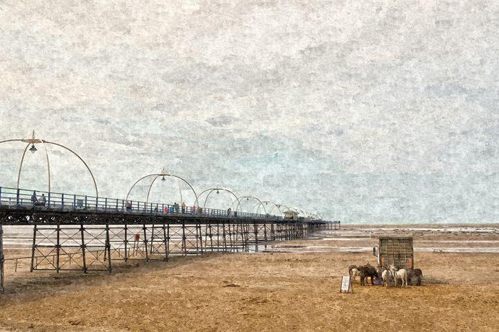 Southport Pier Scene in Oils - David Hughes