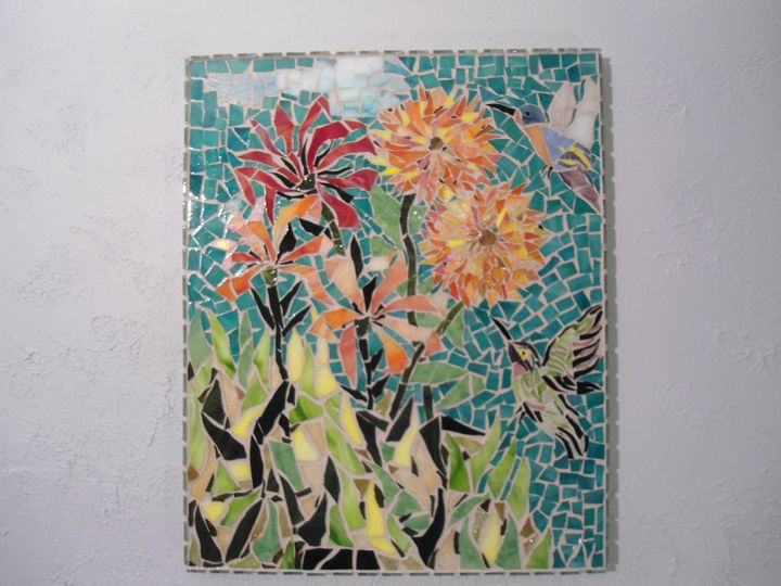 SOLD/ SOLD/ Stained Glass Mosaic - Robbis Cracked Up Mosaics
