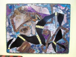 """Don't Smother Me"" Stained Glass Abs - Robbis Cracked Up Mosaics"