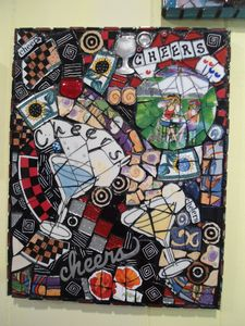 """SOLD """"Cheers""""  Mosaic - Robbis Cracked Up Mosaics"""
