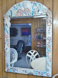 Large Mosaic Angel Mirror - Robbis Cracked Up Mosaics