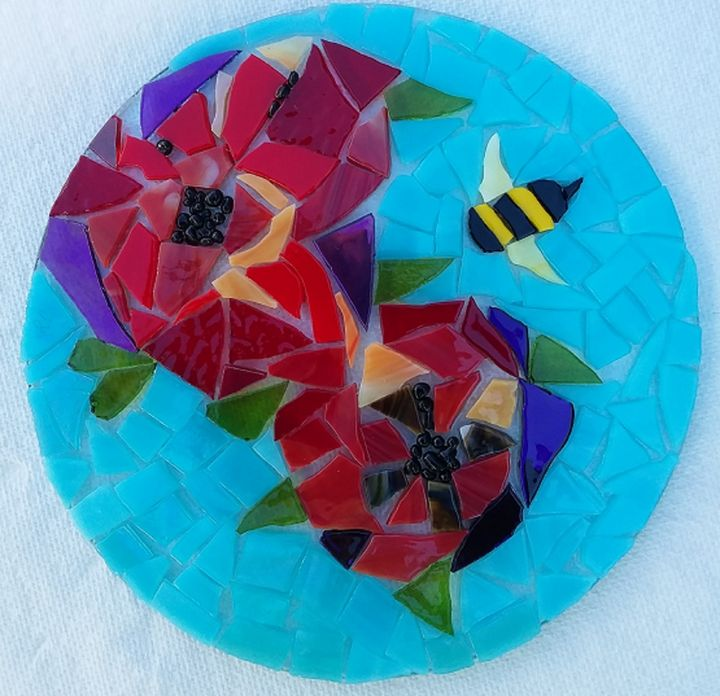 SOLD/Stained Glass on Glass Mosaic - Robbis Cracked Up Mosaics