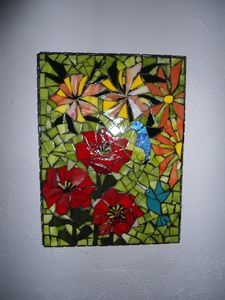 SOLD / stained glass mosaic - Robbis Cracked Up Mosaics