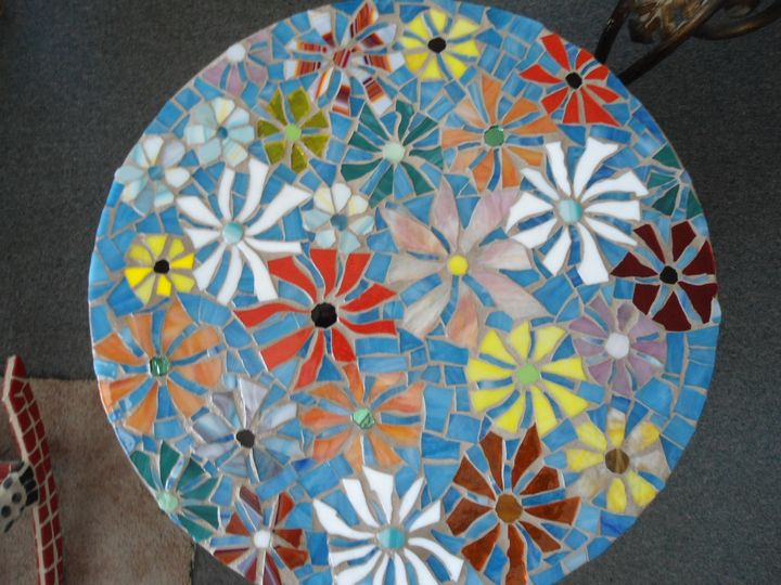 Stained Glass on Glass Mosaic Table - Robbis Cracked Up Mosaics