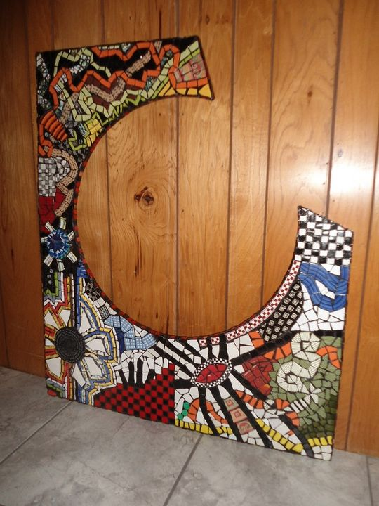 Large piece made Mosaic Abstract - Robbis Cracked Up Mosaics