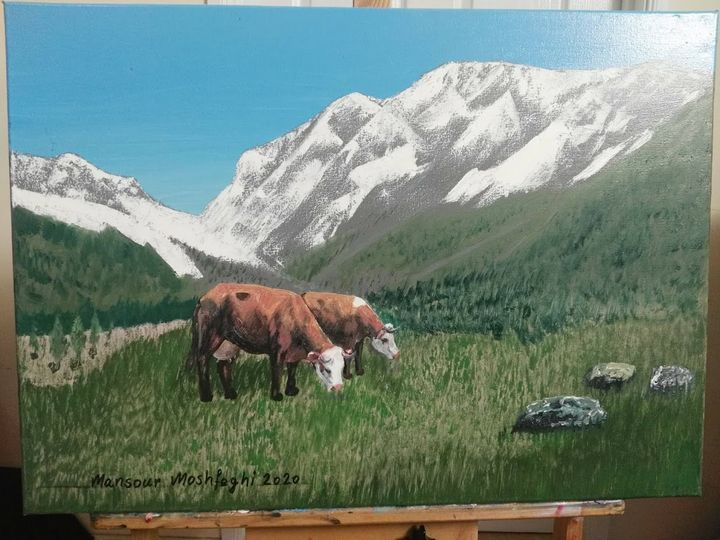 Two Pasturing Cows - Artocraft