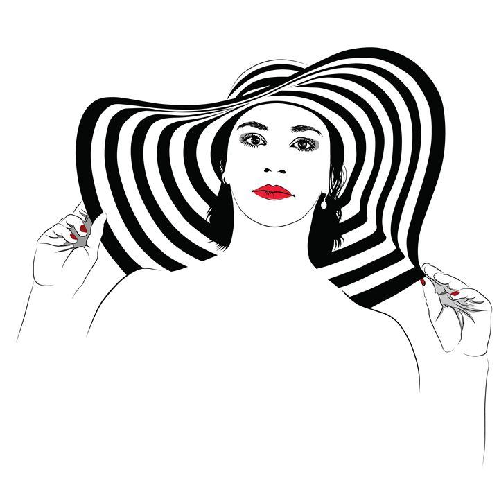 The girl with dark hair in big strip - Dobrydnev