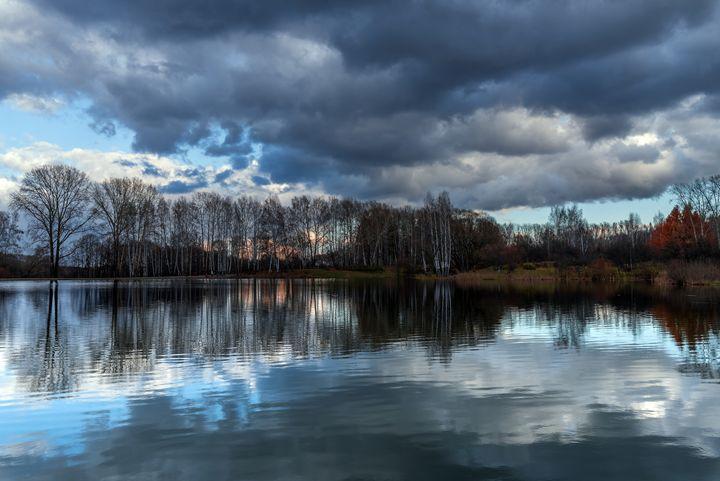 Naked autumn trees and lake - Dobrydnev