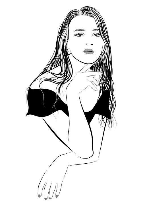 Girl with long hair in BW - Dobrydnev