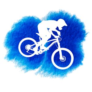 Silhouette of a mountain cyclist