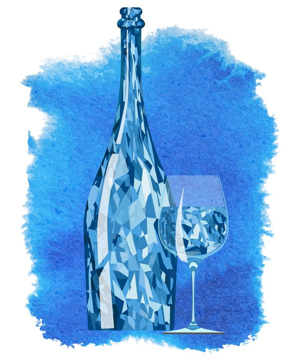 Abstract crystal bottle with a glass - Dobrydnev