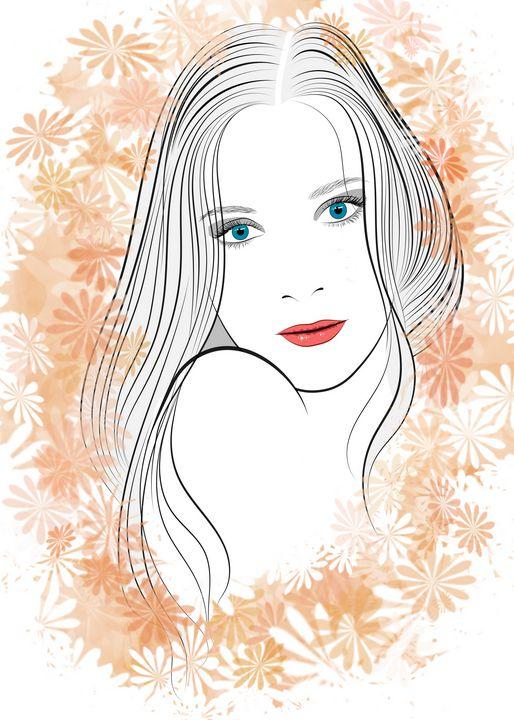 Portrait of a girl with long hair - Dobrydnev