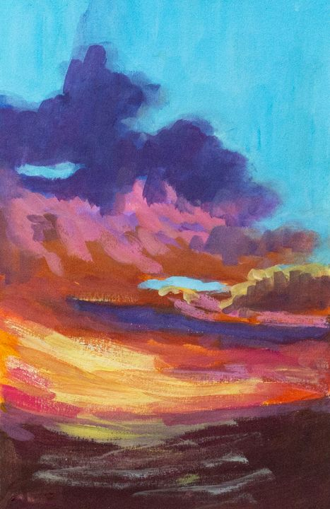 The reddish sunset - Paintings
