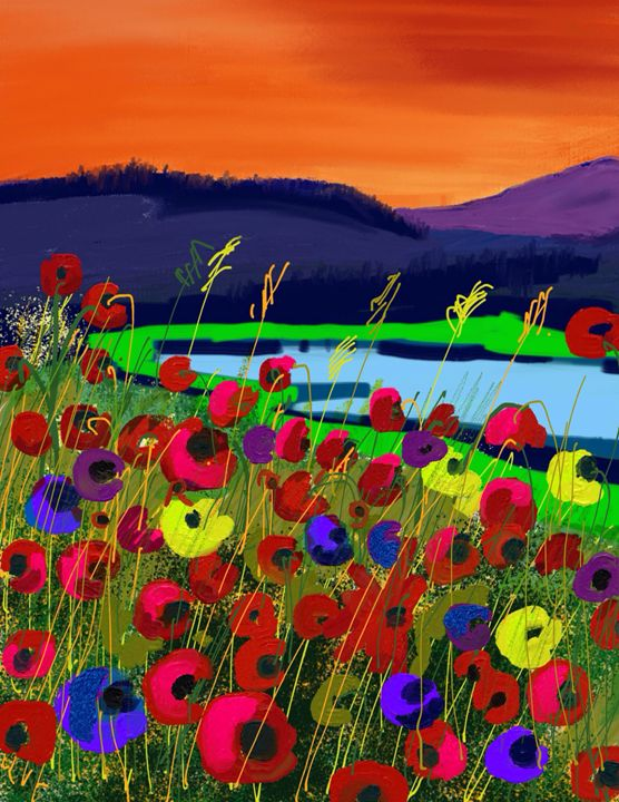 Flowers above the lake - Stetson Creek Gallery