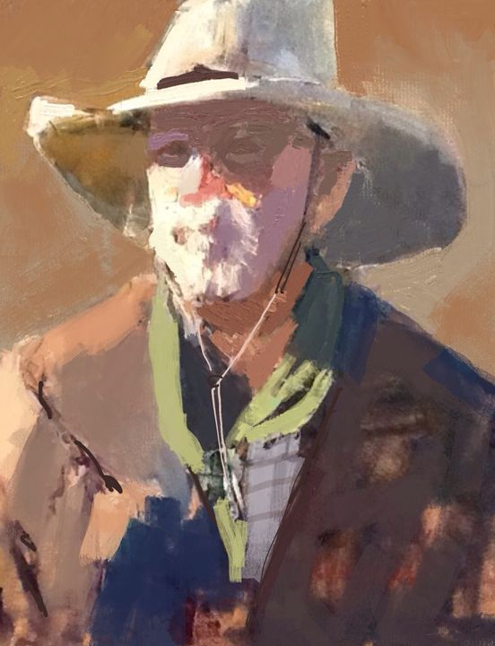 Cowboy sketch - Stetson Creek Gallery