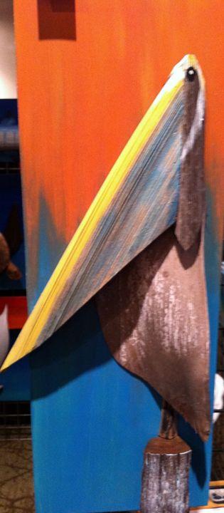 Sunset Pelican on Dock - Dry Dock Art