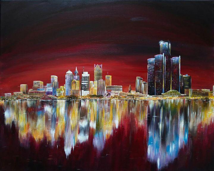 Detroit skyline - Artist Unknown