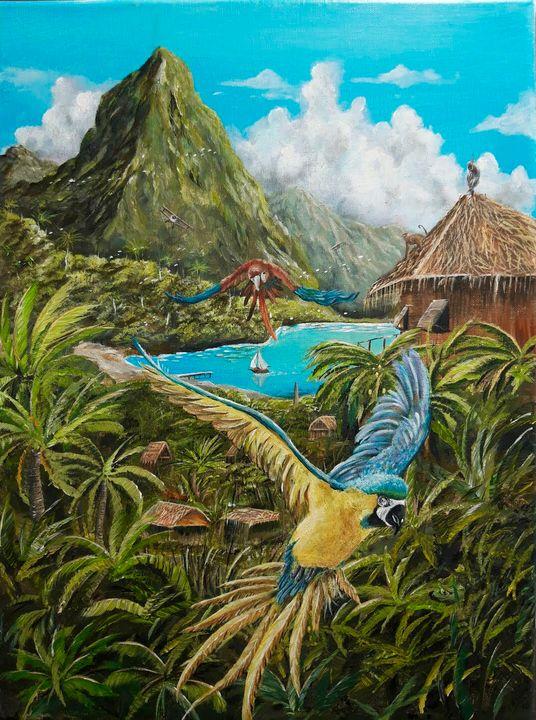 Gliding parrots - Artist Unknown