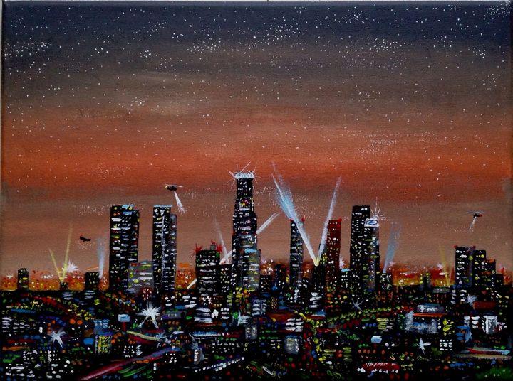L.A. Downtown night skyline - Artist Unknown