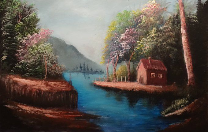 A house by the lake - Khaled Kodsy - Paintings