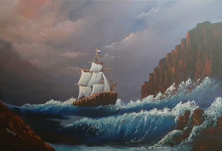 A ship sailing away - Khaled Kodsy - Paintings