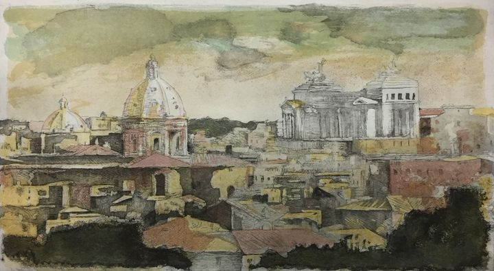 Original Color Etching Il Vittoriano - Much more than Rome