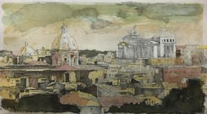 Original Color Etching Il Vittoriano