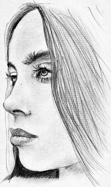 Billie Elish drawing, face profile. - E.G