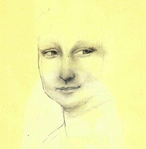 Drawing of Mona Lisa.