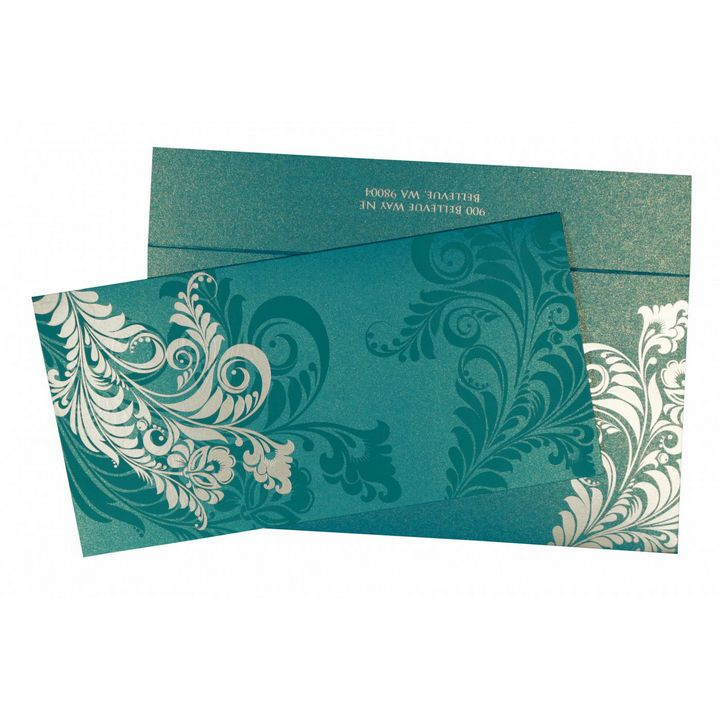CYAN BLUE SHIMMERY FLORAL THEMED - 123WeddingCards