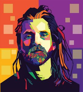 Male with long hair in Popart style