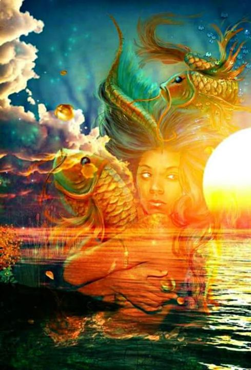 mermaid in the sunset - land of illusions