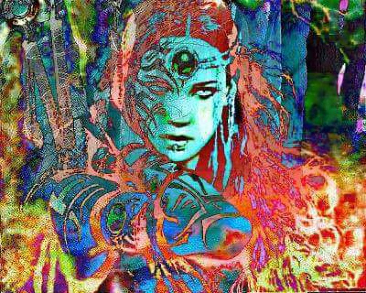 warrior princess in the burning fore - land of illusions